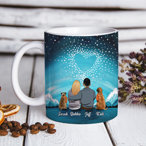 Custom personalized dog & owner coffee mugs and canvas gift for dog dad mom pet lovers, dog lovers - Heart Winter - PersonalizedWitch