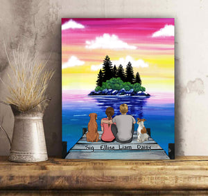 Custom personalized dog & owner canvas gift for dog dad mom pet lovers, dog lovers - Island View - PersonalizedWitch