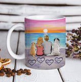 Custom personalized dog & owners coffee mug Pet remembrance print gift idea for the whole family - Love Beach Couple - PersonalizedWitch