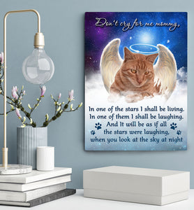 Custom personalized cat memorial photo to canvas print wall art Pet remembrance gift idea for cat mom dad pet lovers owner - Cats Star - PersonalizedWitch