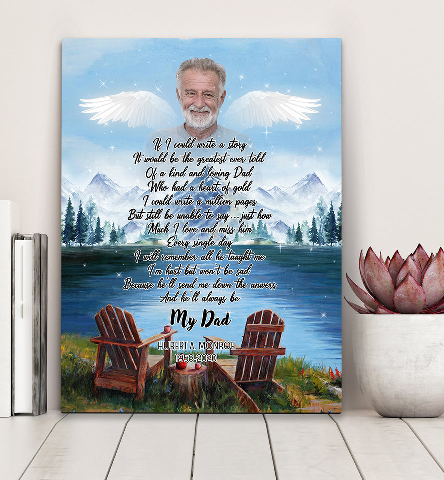 Custom personalized photo to canvas prints wall art Memorial Father's day remembrance gifts idea for loss of father, pictures on canvas for family loved one - Memory Of A Dad - PersonalizedWitch