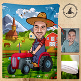 Custom Fleece Blanket - Tractor Farmer personalized caricature family portrait unique funny gifts for friends besties couples mothers day his and hers anniversary gifts