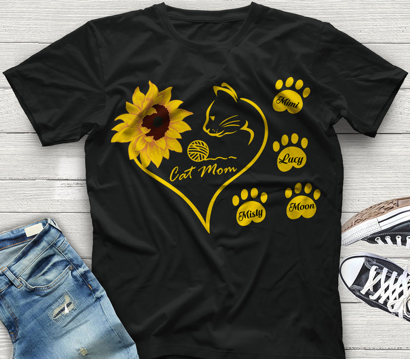Custom personalized cat T shirt mother's day gift, meaningful motherhood day presents, birthday gift for mom ideas from daughter & son kids, gift for cat lover, pet lovers - Sunflower Cat Mom - Personalizedwitch