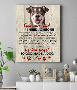 Custom personalized dog memorial photo to canvas Pet remembrance print wall art gift idea for dog mom dad pet lovers with pictures on - God Made A Dog - PersonalizedWitch