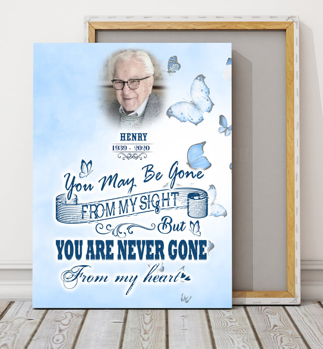 Custom Personalized Photo Canvas Print Memorial Gift Mother's day Father's day unique gift ideas for mom & dad from daughter & son kids, meaningful birthday presents - You are never gone from my heart - Personalizedwitch