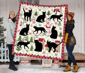 Black Cat Christmas HZ112407 - Quilt Blanket