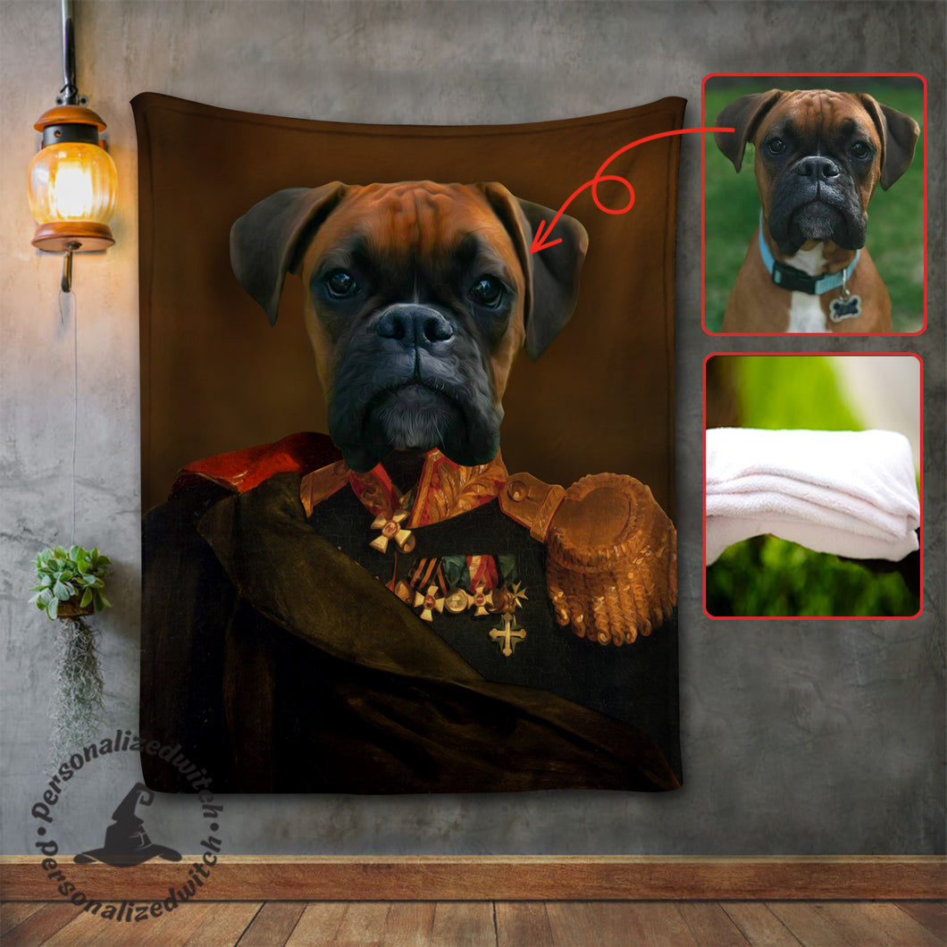 Royal Potrait Dogs - Custom fleece blanket - Personalized caricature family portrait unique funny gifts for best friends friendship couples father mothers day his and hers anniversary gifts birthday present cat dog owners presents for pet lovers