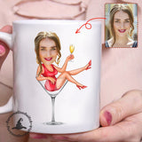 Wine Girl - Custom mug personalized caricature family portrait unique funny gifts for best friends friendship couples father mothers day his and hers anniversary gifts birthday presents