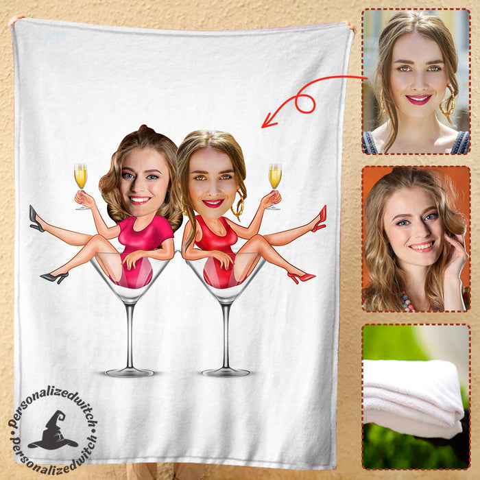 Custom personalized best friend photo to fleece blanket Birthday gift ideas for friends, christmas friendship gifts - Friends Wine - PersonalizedWitch