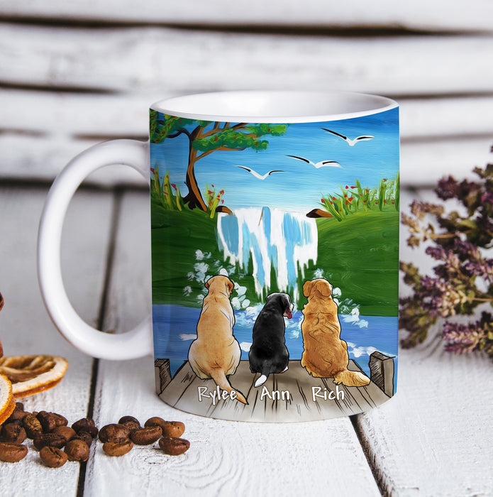 Custom personalized dog coffee mugs gift for dog dad mom pet lovers, dad lovers - Sky And Waterfall - PersonalizedWitch