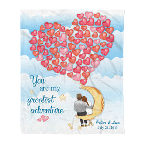 Custom personalized fleece blanket couple husband and wife gifts idea, Christmas, wedding anniversary birthday presents for loved one - Custom Family You Are My Greatest Adventure Fleece Blanket - PersonalizedWitch