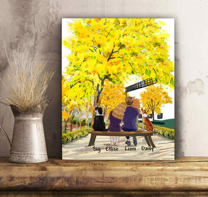 Custom Dogs Canvas And Mug Yellow Trees