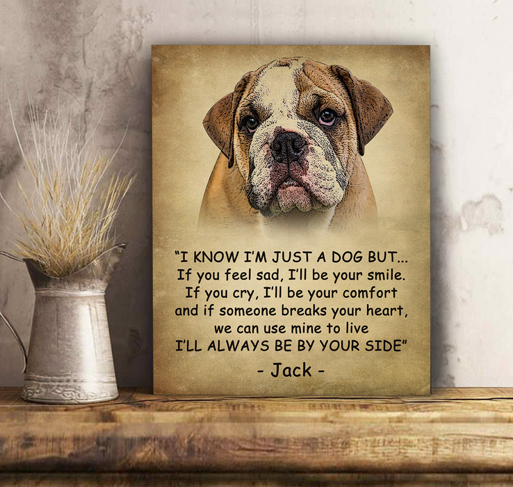 Custom personalized dog memorial canvas print wall art Pet remembrance gift idea for dog mom dad pet lovers owner - By Your Side - PersonalizedWitch