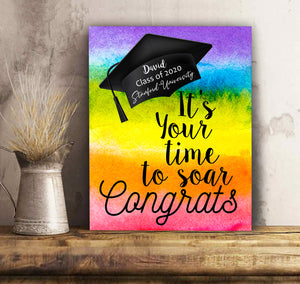 It's Your Time To Soar Congrats Senior 2020 LGBT Flag - Personalized Graduation canvas print Family gift