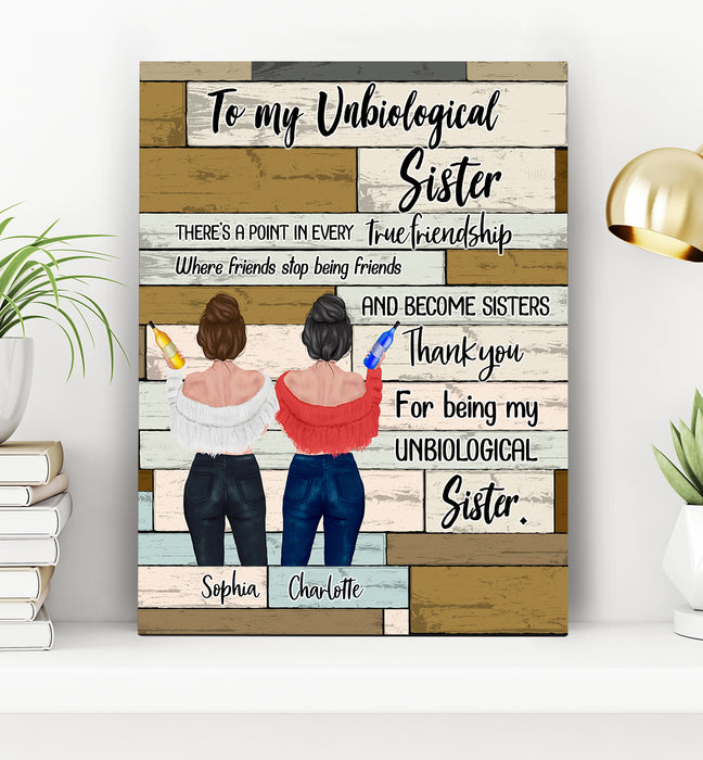 Custom Personalized best friends canvas Bestie friendship printing gift for sisters - To My Unbiological Sister - PersonalizedWitch