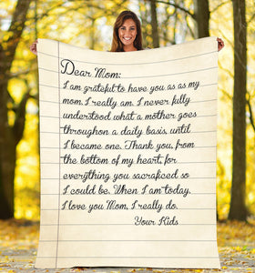 Letter to my mom - Custom fleece blanket personalized father mothers day his and hers anniversary gifts birthday present
