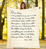 Custom personalized name fleece blanket father's day, mother's day family gift from daughter son, his and hers anniversary wedding gifts birthday present - Letter to my mom - PersonalizedWitch