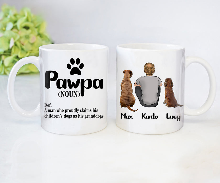 Custom personalized coffee mugs Father's day gifts idea, Christmas, birthday presents for dad from daughter - Custom Dogs Mug PawPa - PersonalizedWitch