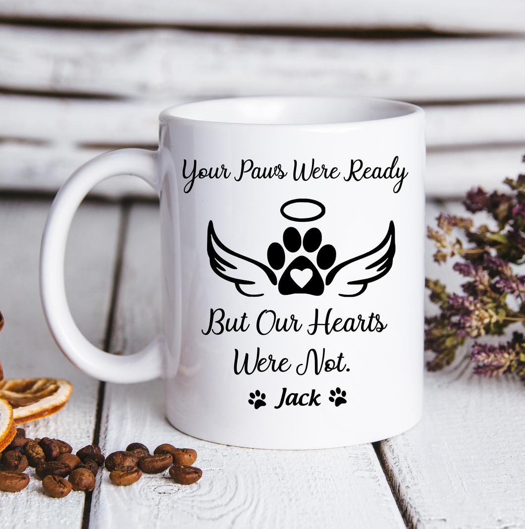 Custom personalized coffee mugs Father's day gifts idea, Christmas, birthday presents for dad from daughter - Custom Dogs Mug Your Paws Were Ready - PersonalizedWitch