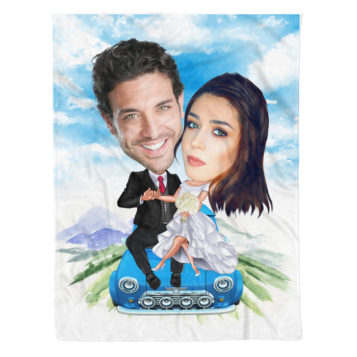 Custom personalized fleece blanket couple husband and wife gifts idea, Christmas, wedding anniversary birthday presents for loved one - Couple Car - PersonalizedWitch