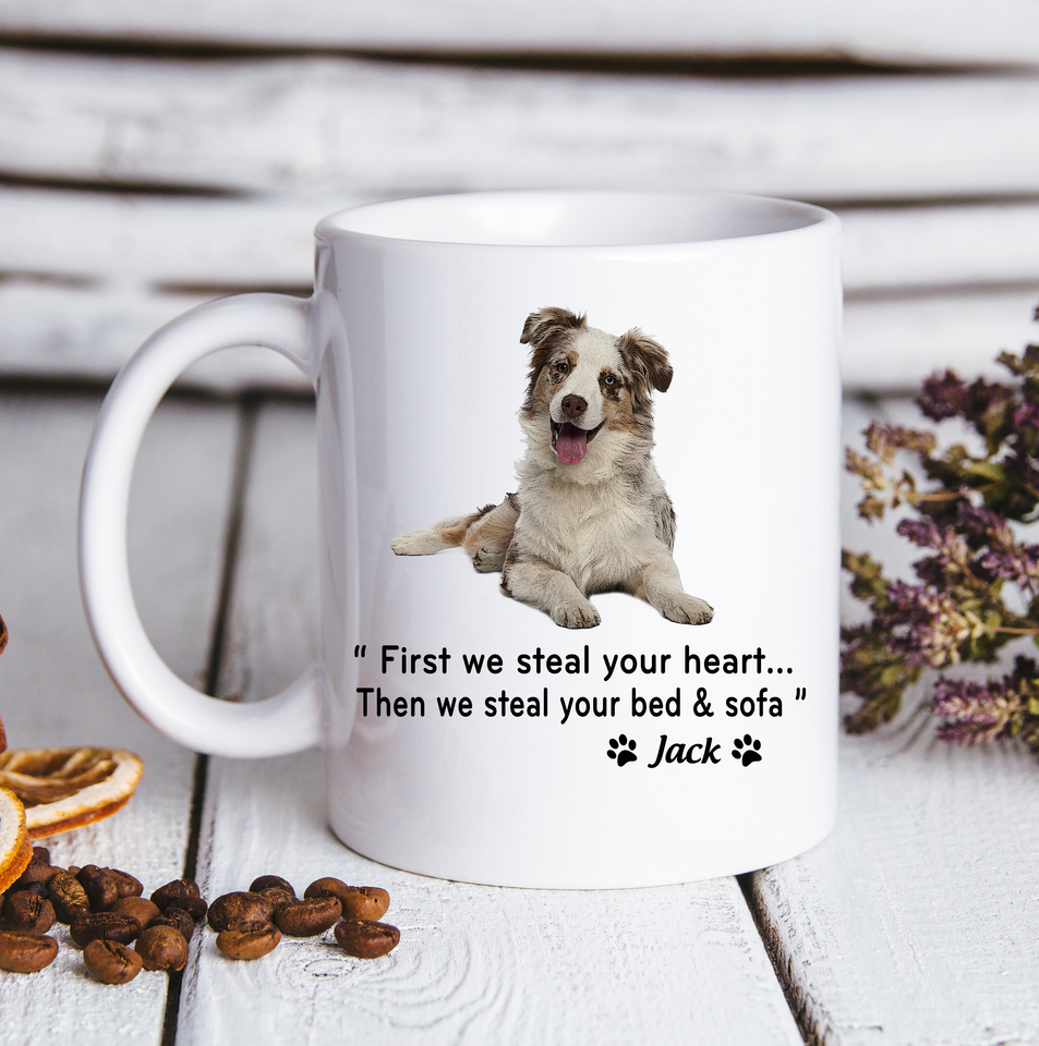 Custom personalized dog coffee mugs gift for dog dad mom pet lovers, dad lovers - Steal Your Heart - PersonalizedWitch