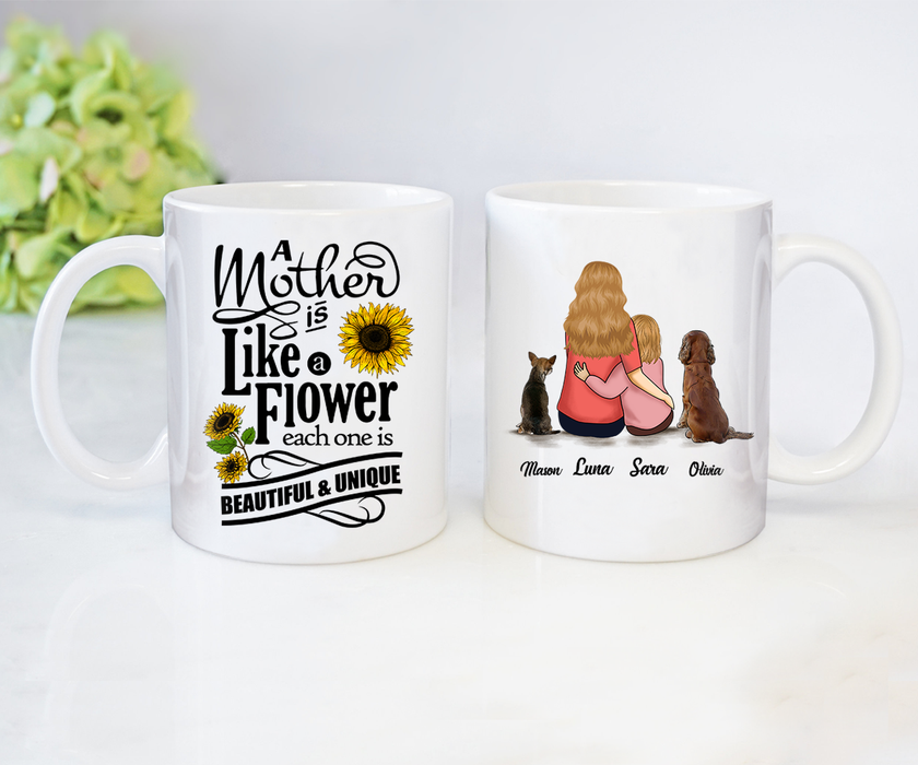 Coffee Mug Mother's day Father's day unique gift ideas for mom & dad from daughter & son kids, meaningful birthday presents -  Custom Mug Mom Likes A Flower