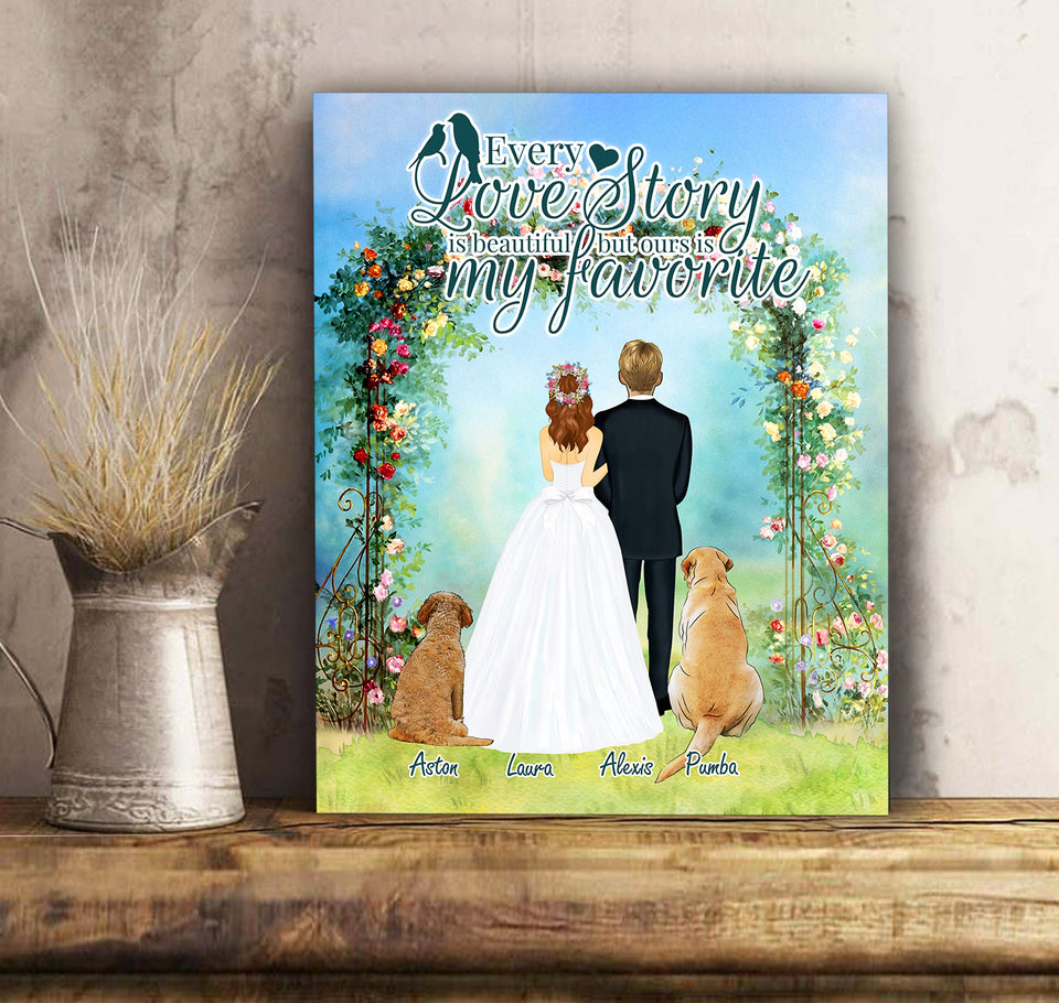 Love Story - Personalized custom dog canvas print Pet canvas Mother gift idea dog lover gift