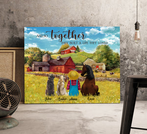 Custom personalized horse & dog owners canvas prints wall art gift for dog mom pet lovers, horse & dog lovers - Horse Dog Together We Build A Happy Life - PersonalizedWitch