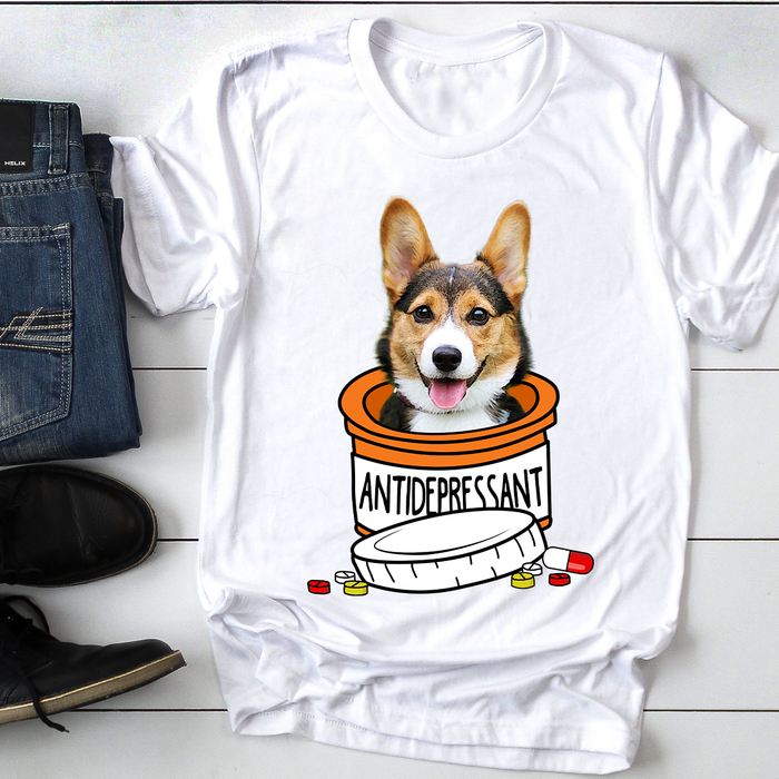Custom Personalized photo to Dog T Shirts Gift for dog owners lovers, pet lovers Mother, Father of Dogs -  Antidepressant - PersonalizedWitch