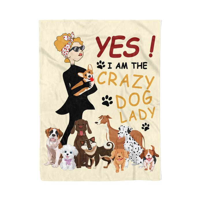 Fleece Blanket Mother's day Father's day unique gift ideas for mom & dad from daughter & son kids, meaningful birthday presents -  I am the crazy dog lady, fleece blanket, dog lovers gifts best friends gifts