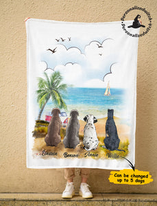 Custom personalized dog Ultra-Soft Micro Fleece Blanket gift for dog dad mom pet lovers, dad lovers - Custom Dogs Summer On the Beach Fleece Blanket - PersonalizedWitch