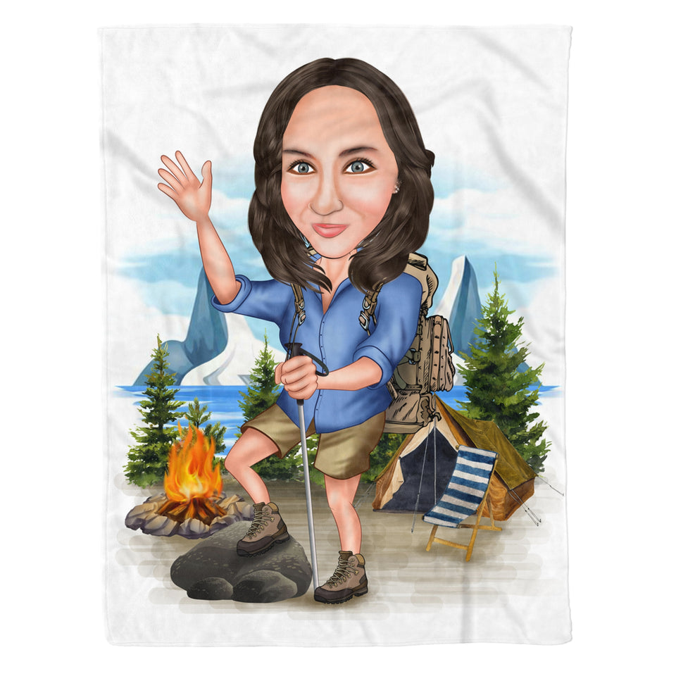 Custom Fleece Blanket - Camping Woman personalized caricature family portrait unique funny gifts for couples mothers day his and hers anniversary gifts