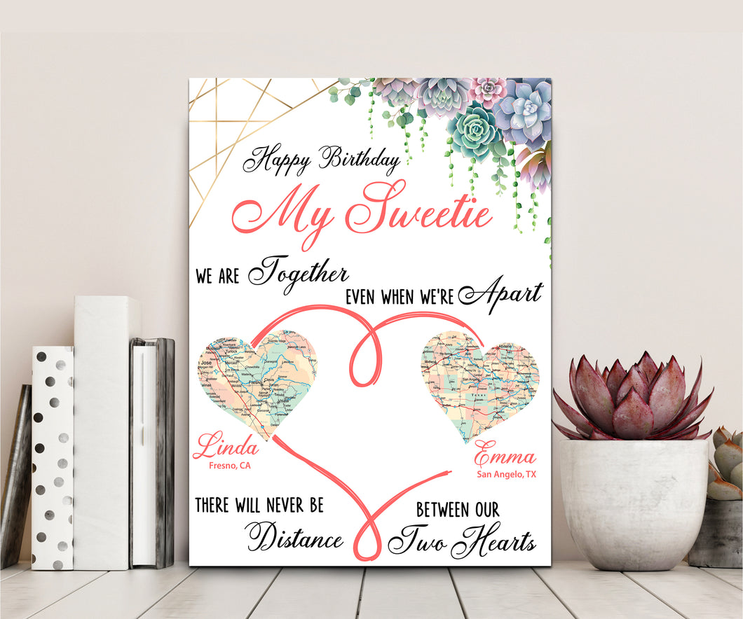 Happy Birthday My Sweetie - Personalized Canvas Mother's Day Father's Day Gift, Personalized Gift, Map Gift For Family, Canvas Print