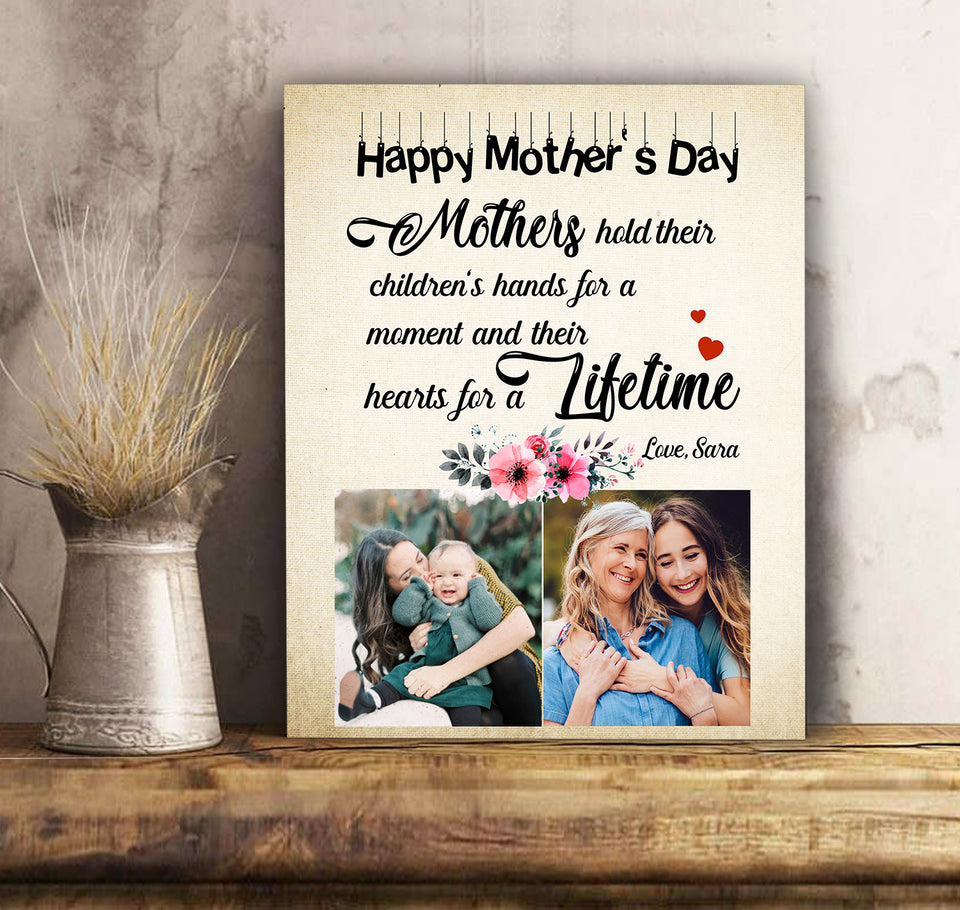 Custom personalized photo to canvas prints wall art gifts idea, pictures on canvas Christmas, birthday presents for daughter & son - Mothers Hold Children's Heart Forever - PersonalizedWitch