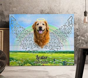 Custom personalized dog memorial photo to canvas print wall art Pet remembrance gift idea for dog mom dad pet lovers owner- Rainbow Bridge - PersonalizedWitch