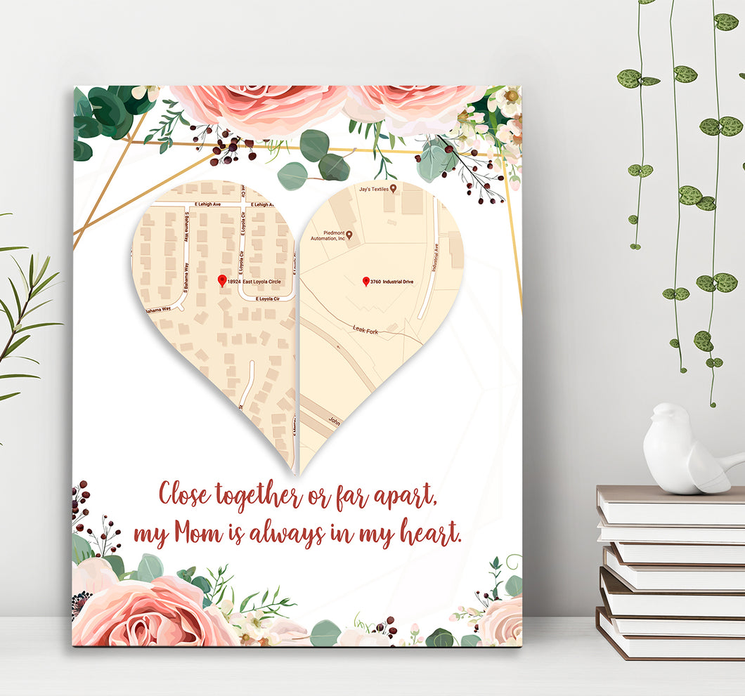 Custom personalized canvas prints wall art Mother's day gifts idea, Christmas, birthday presents for mom from daughter, son - Heart Distance - PersonalizedWitch