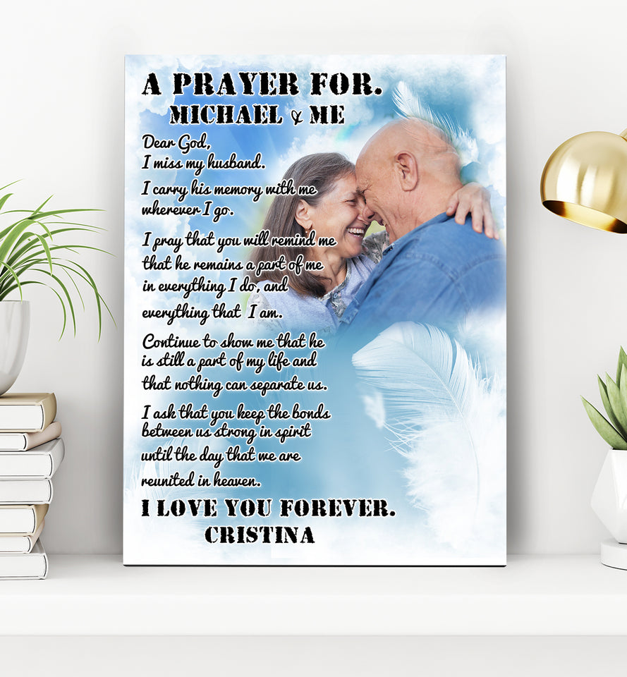 Custom personalized photo to canvas prints wall art, couple pictures on canvas memorial gifts for loss of husband, newly widowed - I miss my Husband - PersonalizedWitch