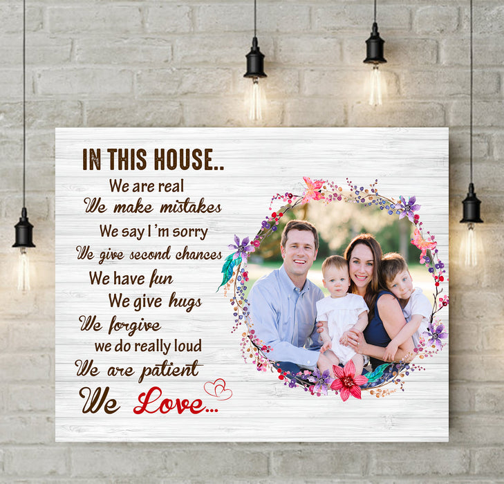 Custom personalized family canvas prints wall art Mother's day Father's day gifts idea, Christmas, birthday presents for mom dad from daughter - In This House We Do Family - PersonalizedWitch
