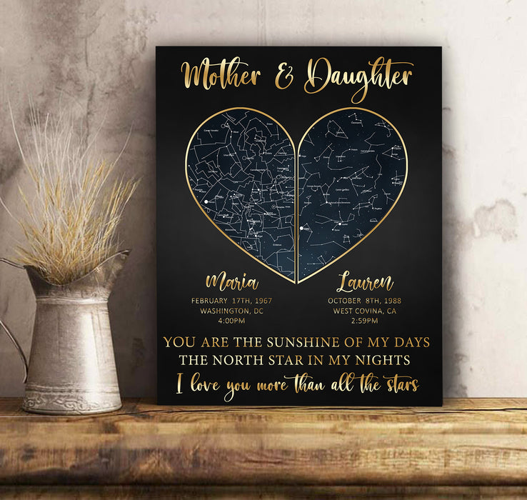 Mother & Daughter Star Map Personalized Canvas Mother's day Gift, Birthday, Mother & Daughter Present