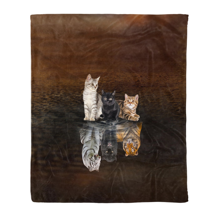Fleece Blanket Mother's day Father's day unique gift ideas for mom & dad from daughter & son kids, meaningful birthday presents -  You Are Stronger Than You Think - Cat Reflection - Cat fleece blanket cat lover gift idea pet lover gift