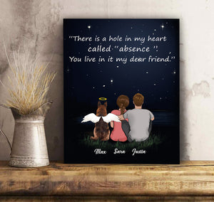Custom personalized dog & owner memorial canvas print wall art for whole family Pet remembrance gift idea for dog mom dad pet lovers- My Friend Forever - PersonalizedWitch