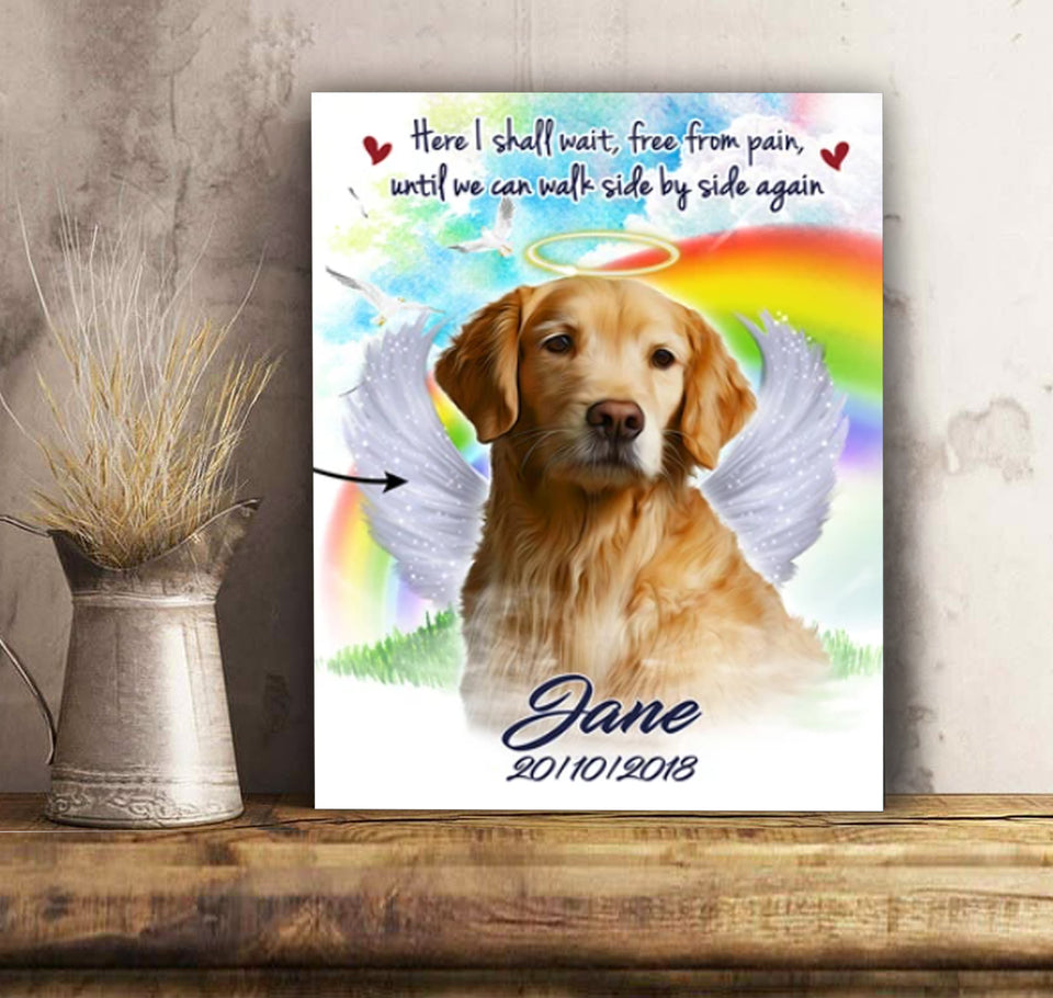 Custom personalized cat canvas Pet remembrance print gift idea for cat mom dad pet lovers - Dog In Heaven - PersonalizedWitch