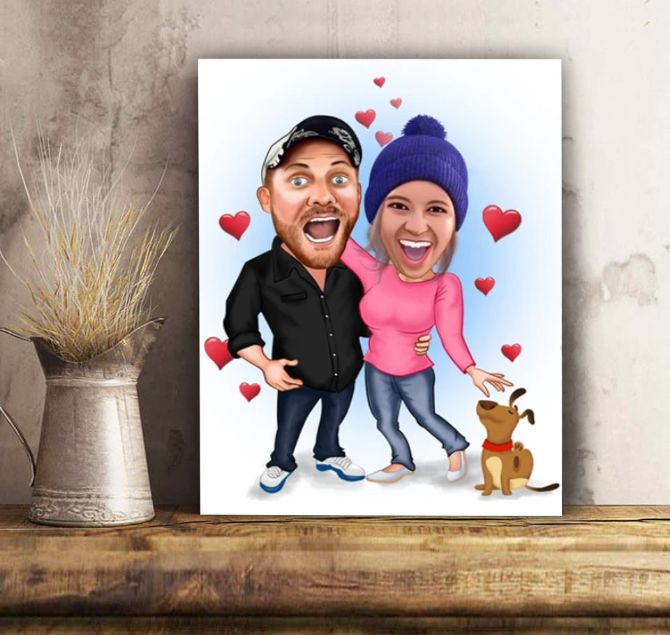 Custom personalized couple canvas prints wall art husband and wife gifts idea, Christmas, wedding anniversary birthday presents for loved one - Funny Couple And Dogs - PersonalizedWitch