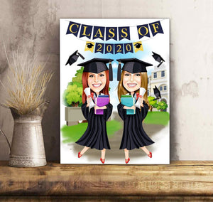 Custom personalized photo canvas prints wall art family gifts for graduate, best graduation gifts for her & him, best friends & graduated class - Graduation Ceremony Best Friends - Personalizedwitch