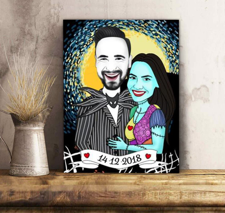 Custom personalized couple canvas prints wall art husband and wife gifts idea, Christmas, wedding anniversary birthday presents for loved one - Nightmare - PersonalizedWitch