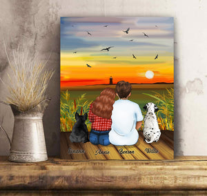 Custom personalized dog & owners canvas Pet remembrance print gift idea for the whole family - Romantic Sunset With Lake View - PersonalizedWitch
