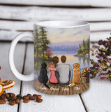 Custom personalized cat & owner coffee mugs canvas gift for cat mom dad pet lovers, cat lovers - River And Trees Background