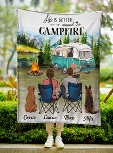 Custom personalized dog & owners camping fleece blanket Pet remembrance gift idea for the whole family, dog lovers, dog dad mom - Life Is Better Around The Campfire - PersonalizedWitch