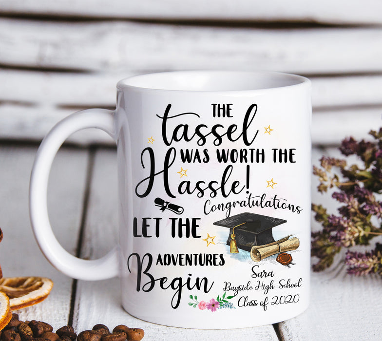 Custom personalized name graduation coffee mugs funny gifts for senior, family, best friends & graduated class - The Tassel Was Worth The Hassle Graduation Day - Personalizedwitch