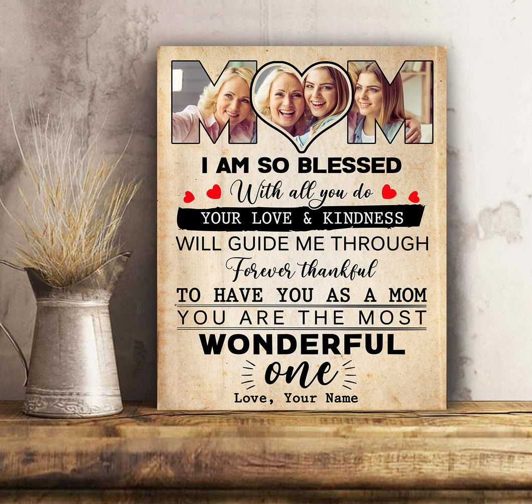 Custom personalized photo to canvas prints wall art mother's day, birthday gift for world's best mom - Happy Mother's Day Mom Forever Thankful - Personalizedwitch